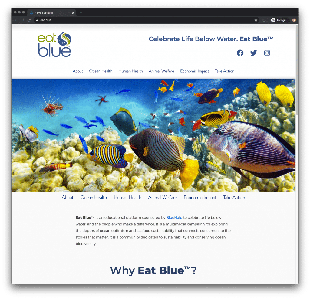Eat.Blue Home page
